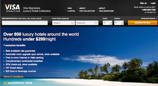 Understanding visa signature luxury hotel collection one for Visa hotel luxury collection
