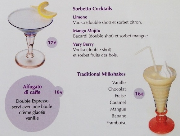 Cafe De Paris Drinks Prices