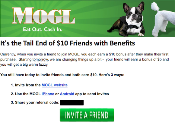 MOGL changing their referral payout tomorrow | One Mile at a