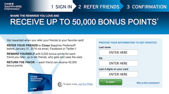 The Offer. Direct Link (check if you are eligible to refer at this link). Chase now offers a $50 referral bonus to banking customers who refer friends for their banking products. The bonus is only available to those who have a debit/ATM card with Chase, and only for referring friends who don't currently have any checking or savings account with Chase.