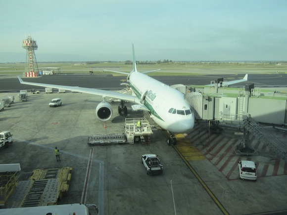 Alitalia A330 plane at terminal