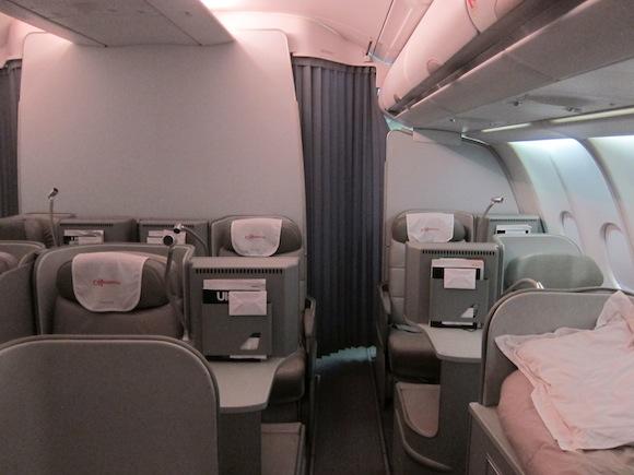 Rear business class cabin on Alitalia A330