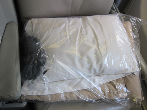 Pillow and blanket on seat