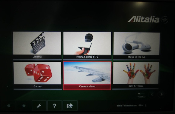 Entertainment selection on Alitalia