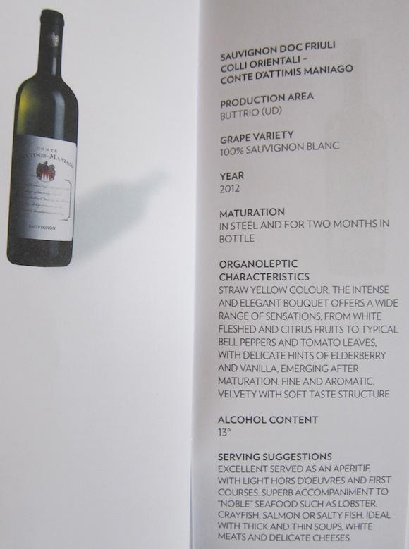 Sauvignon Doc Friuli on wine list