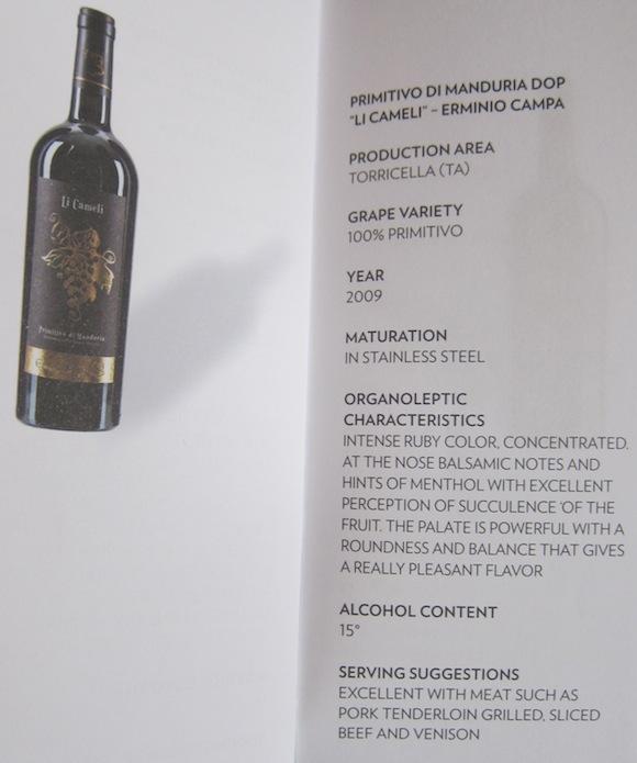 Primitivo Di Manduria Dop on wine list