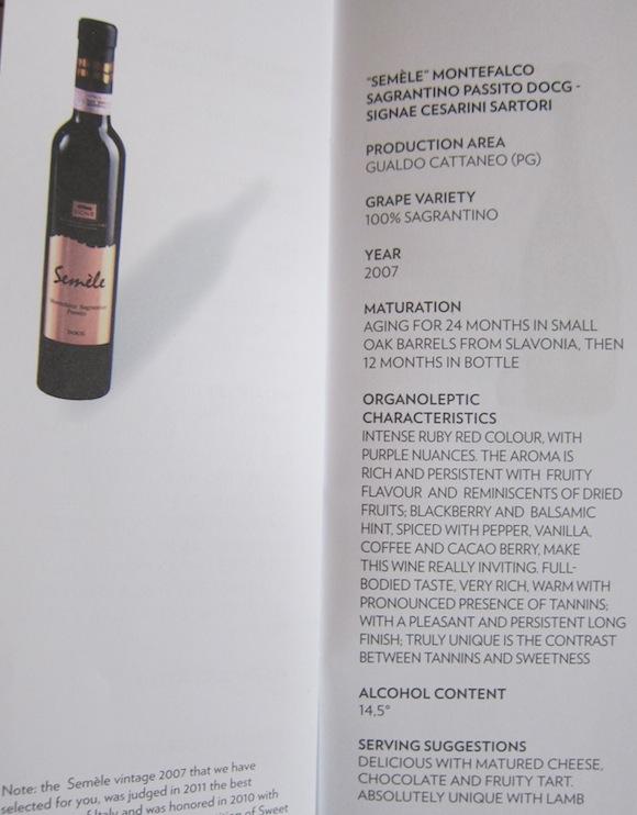 Semele Montefalco on wine list