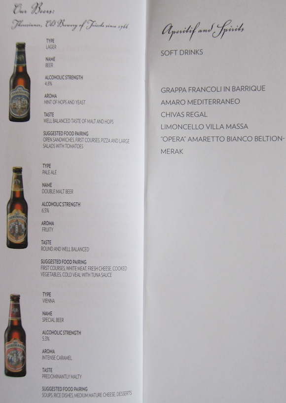 Beer and soft drink list