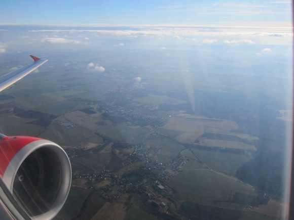 Takeoff view after takeoff from Prague on Czech Airlines