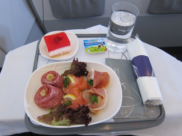 Czech Airlines business class deli plate meal