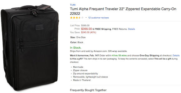 tumi luggage price