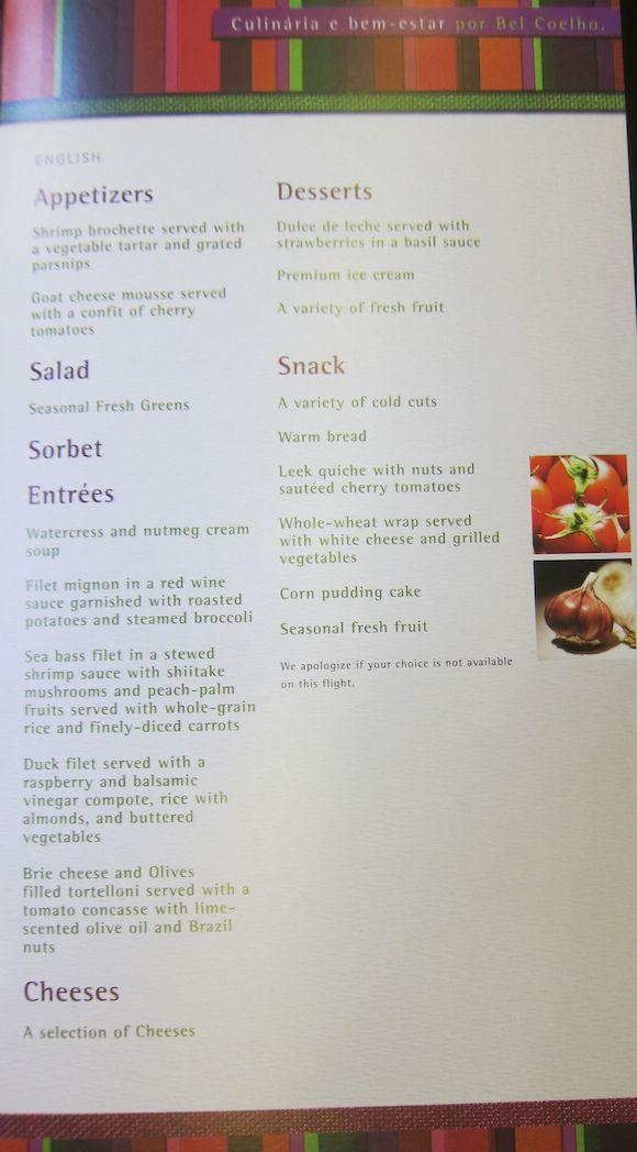Lunch menu starters on menu
