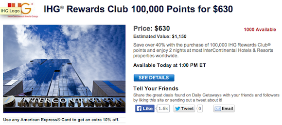 Today's Daily Getaways: Discounted IHG Rewards Club Points ...