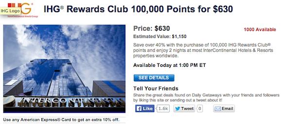 Today's Daily Getaways: Discounted IHG Rewards Club Points ...