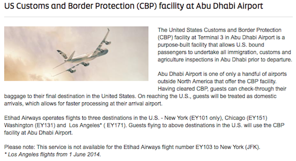 Abu Dhabi Airport United States Immigration Pre Clearance One Mile