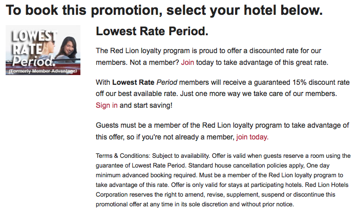 Red Lion Lowest Rate