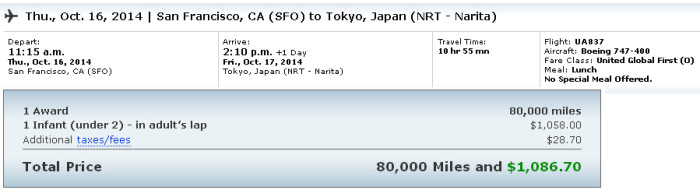 Lap child fee for a First class award ticket SFO-NRT