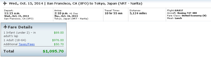 Lap child fee for an Economy revenue ticket SFO-NRT