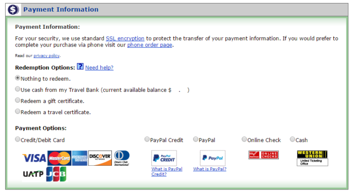 Travel bank shows up as a payment option