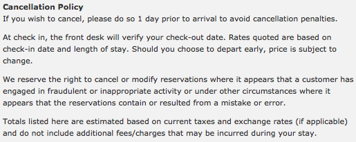 Hilton changing global cancellation policy one mile at a for Refund cancellation policy template