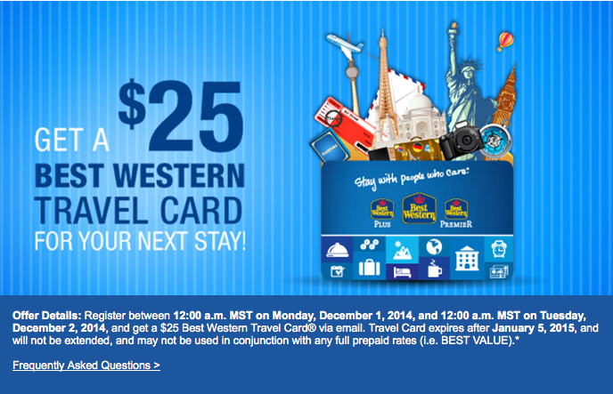 Today Only: Best Western Free $25 Travel Card