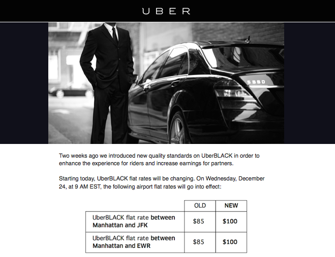 Uberblack Nyc Airport Flat Rate Prices Increase Today One Mile At