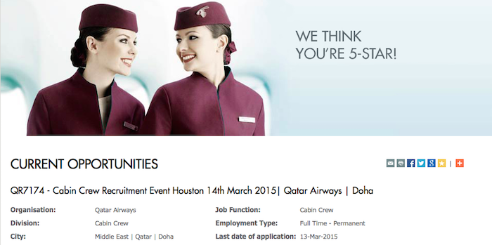 qatar airways is recruiting for cabin crew in the us - really