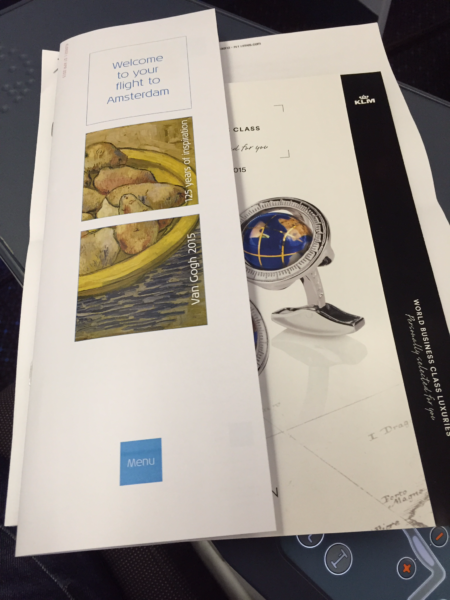 KLM service menu and duty-free booklet