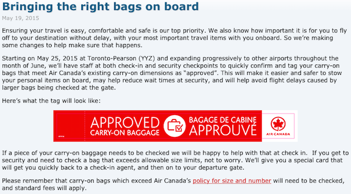 Air Canada Starts Tagging Carry-On Bags... Should Other Airlines Follow? - One Mile At A Time