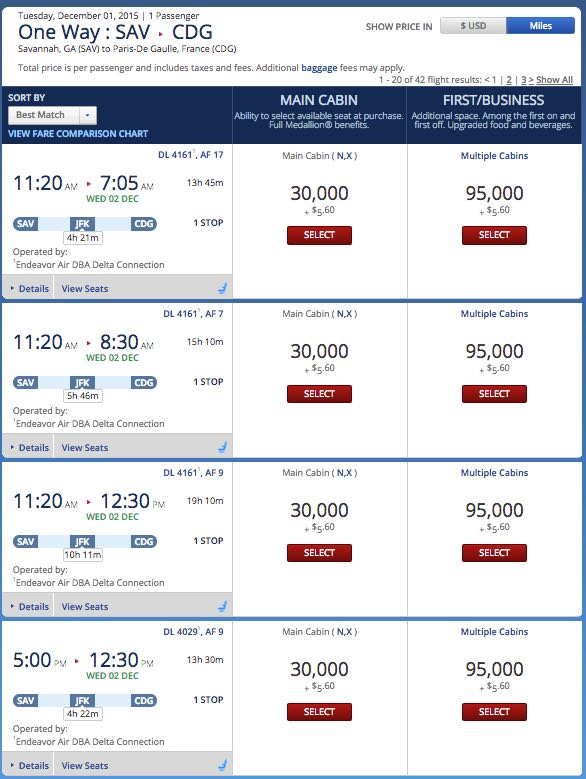 Delta Skymiles Award Pricing 03