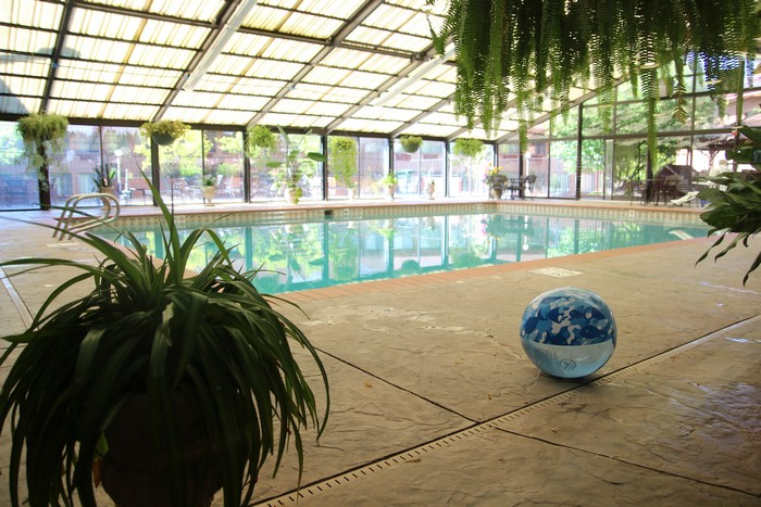 The pool is in a solarium.