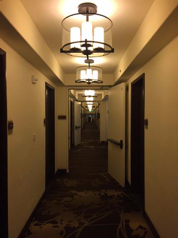 Hyatt Santa Barbara first floor guestroom corridor