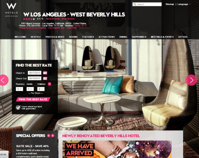 "W Los Angeles - West Beverly Hills, a ""newly renovated Beverly Hills hotel"""