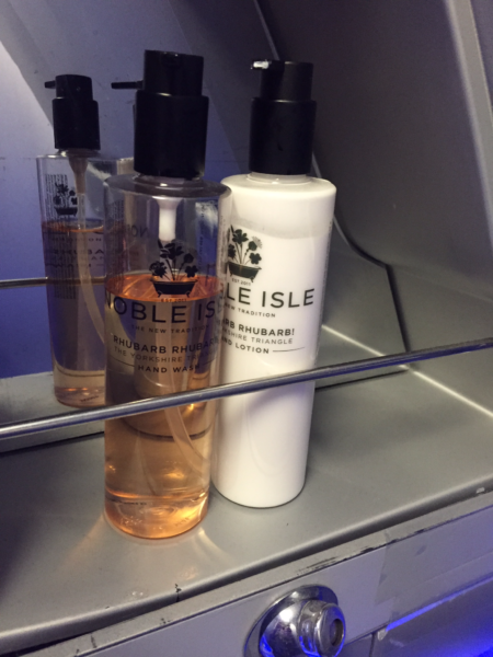 Toiletries in the Virgin Atlantic Upper Class lavatory