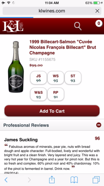 Champagne served onboard at retail price