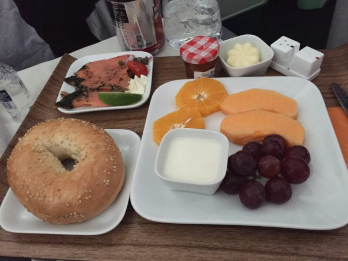 Bagel, lox and fruit