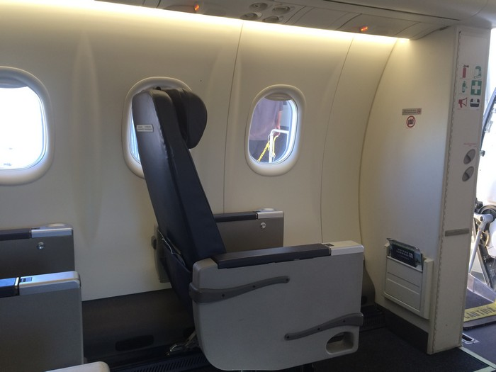 Seat 1A on the Q400