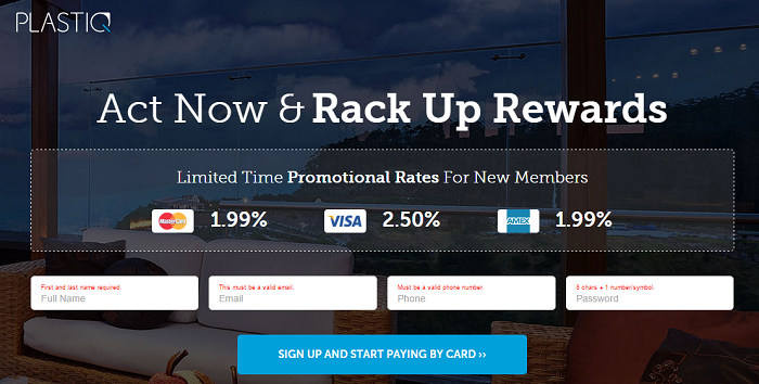 Promotional rate sign-up screen