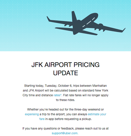 Uber ends flat rate trips to and from JFK
