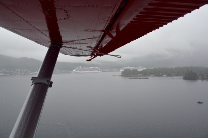 view of ship from float plane