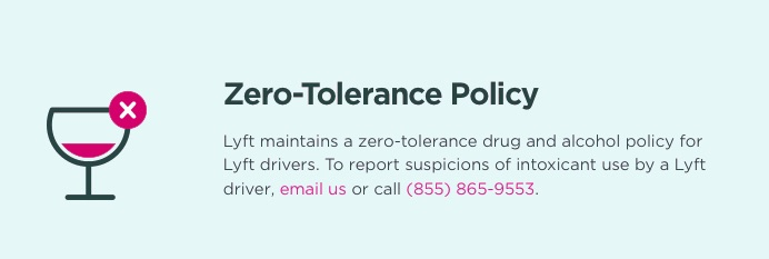 lyft zero tolerance intoxicants