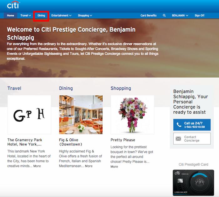 Using Citi Prestige Card Concierge For Restaurant