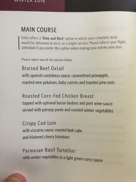 Delta One's new menu