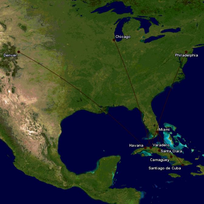Us Airlines Announce Desired Routes To Cuba One Mile At A Time - Us-cuba-map