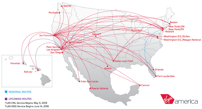Virgin America Route Map Anyone Want To Buy An Airline? Virgin America Hopes So!   One Mile  Virgin America Route Map