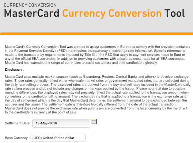 Mastercard Currency Conversion Tool
