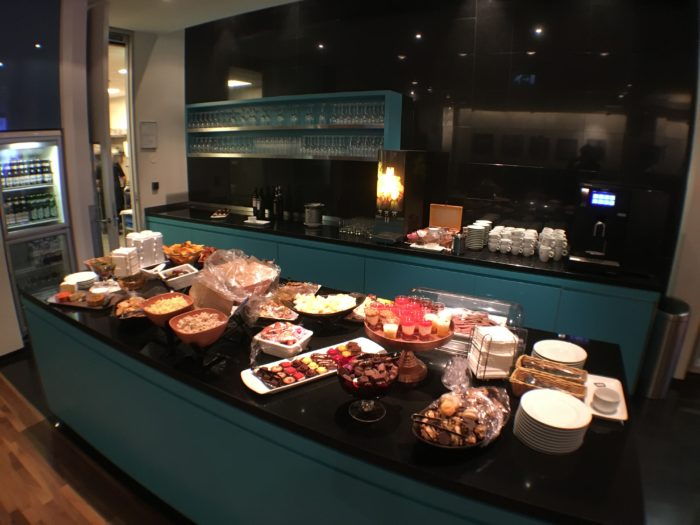 Icelandair Business Class lounge spread.