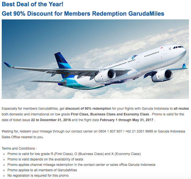 Best Deal Of The Year 90 Off Garuda Indonesia First Class Award Tickets One Mile At A Time
