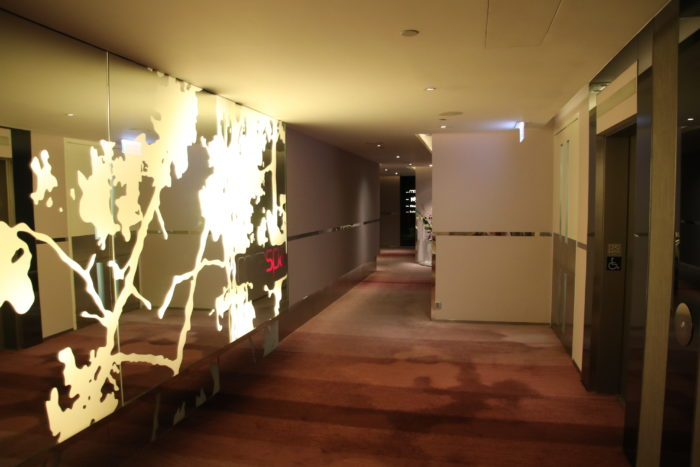The corridor on the floor with the spa.