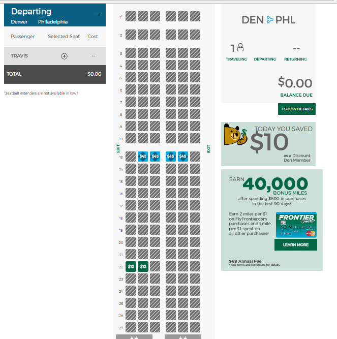 Seat Map For My Frontier Flight A Few Hours Prior To Departure